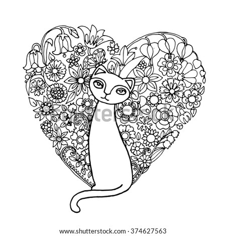 Sweet cat dreaming for love, wit heart shaped flower flat lay in her background, vector design for adult colouring book, blake and white zentagle for St. Valentine day.