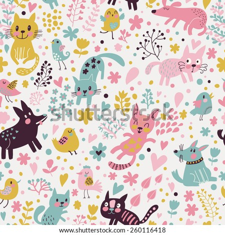Sweet childish seamless pattern with birds, cats and funny dogs in vector. Seamless pattern can be used for wallpapers, pattern fills, web backgrounds,surface textures. Lovely childish wallpaper - stock vector