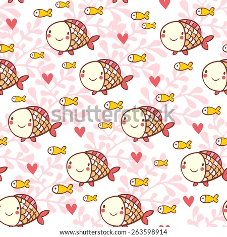 Sweet childish seamless pattern with fish and corals, ?artoon seamless pattern for lovely childish designs in vector. - stock vector
