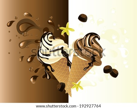 Sweet chocolate and vanilla ice cream on abstract background - stock vector