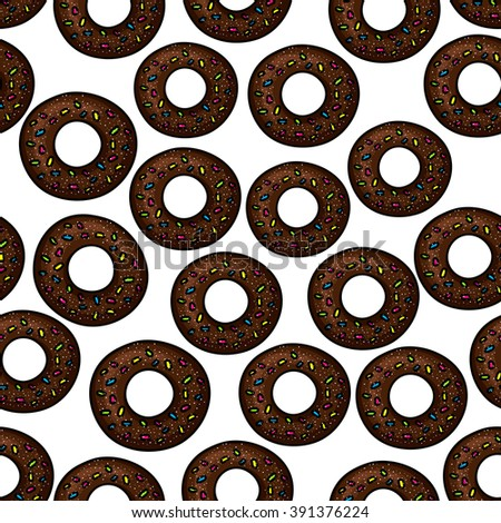 Sweet chocolate donuts pattern for fast food pastry or bakery shop design with seamless ornament of donuts, topped with colorful sprinkles and sugar powder