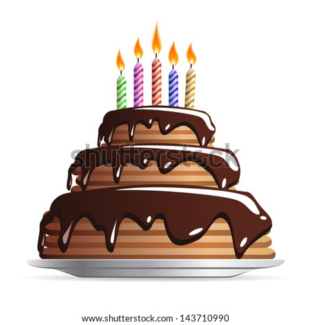 Sweet Chocolate wedding or birthday cake with color candles icon isolated on white background. Vector - stock vector