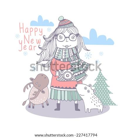 Sweet christmas card in vector. Bright holiday background with small cute girl, bear and deer. Happy New Year - stock vector