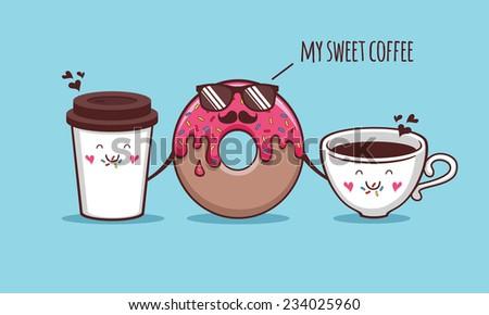 Sweet coffee - stock vector