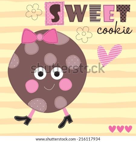sweet cookie vector illustration - stock vector