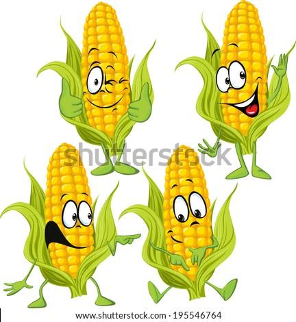 sweet corn cartoon with hands - stock vector
