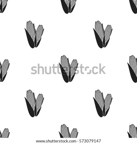 Sweet corn icon in black style isolated on white background. Canadian Thanksgiving Day pattern stock vector illustration.