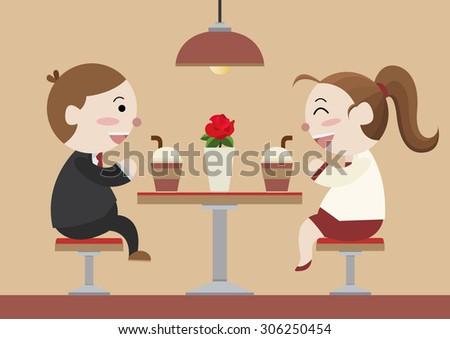 sweet couple date at coffee shop cartoon vector - stock vector