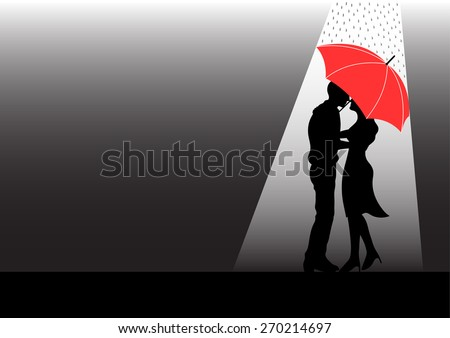 Sweet Couple Lover Silhouette Under Red Umbrella And Raining Vector Design