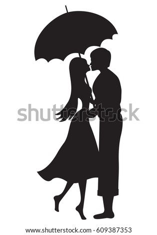 Sweet Couple Lover Silhouette Under Red Umbrella And Raining Vector Design Hand Drawn