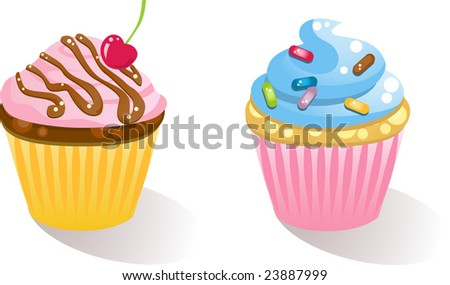 sweet cupcakes - stock vector