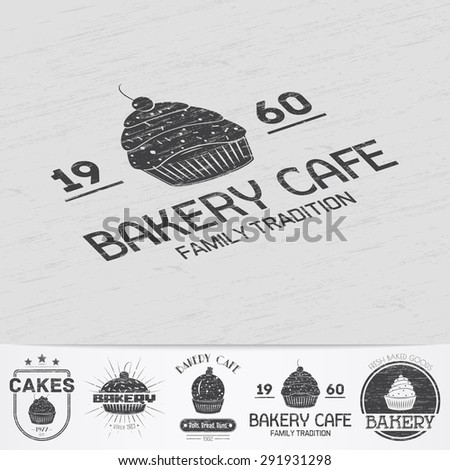 Sweet Cupcakes. Bakery baking. Cafes and eateries. The food and service. Old retro vintage grunge. Scratched, damaged, dirty effect. Monochrome typographic labels, stickers, logos and badges. - stock vector