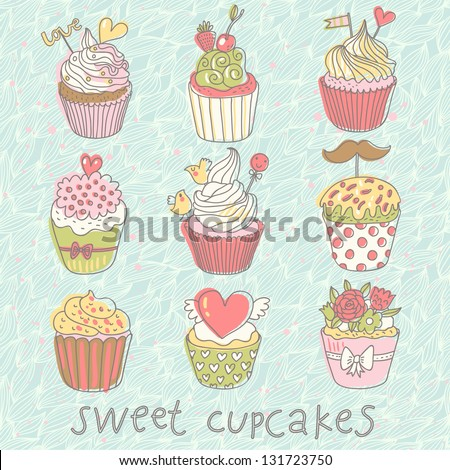 Sweet cupcakes. Colorful tasty vector set. 9 delicious cakes for modern yummy romantic designs or wedding invitations. - stock vector