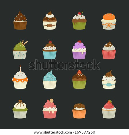 Sweet cupcakes icons , eps10 vector format - stock vector
