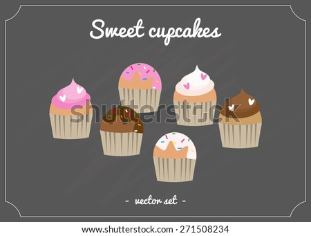 Sweet cupcakes on blackboard with frame. - stock vector