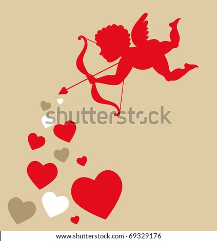 sweet cupid - greetings card for Valentines day - stock vector