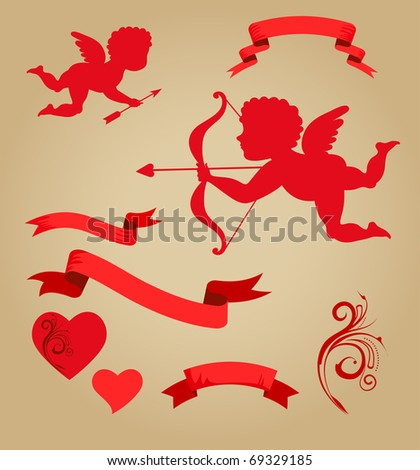 sweet cupids, ribbons and elements for Valentines day - stock vector