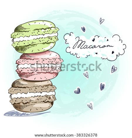 Sweet delicious doodle macaro?ns card. Sketch style vector illustration. Each elements are separated. - stock vector