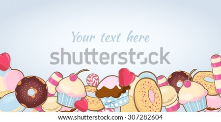 Sweet dessert  background with place for your text - stock vector