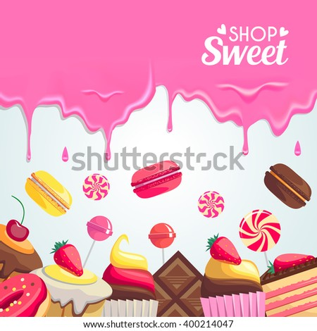 Sweet dessert food frame isolated on white background. Vector illustration for menu design. Culinary wallpaper. Bright colorful template with frame and border. Cute delicious collection. Sweet color