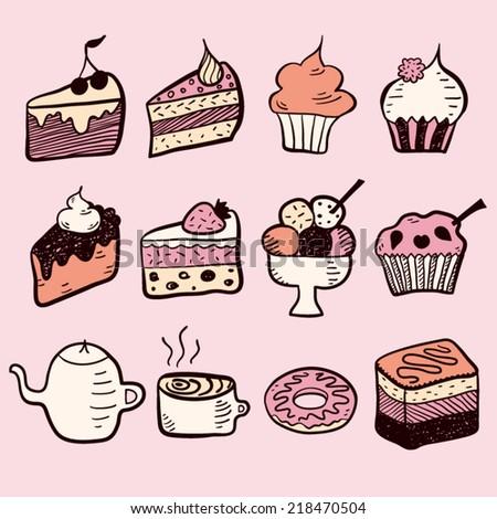 Sweet dessert set pink - stock vector
