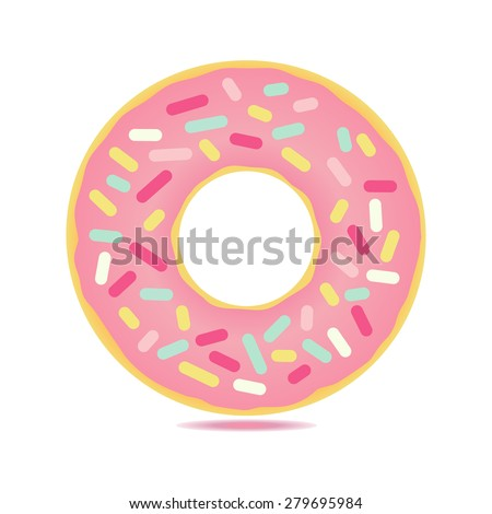 Sweet  donut card with pink glaze and many decorative sprinkles. Can be used as card or t-shirt print - stock vector