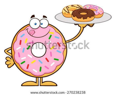 Sweet Donut Cartoon Character Serving Donuts. Vector Illustration Isolated On White - stock vector
