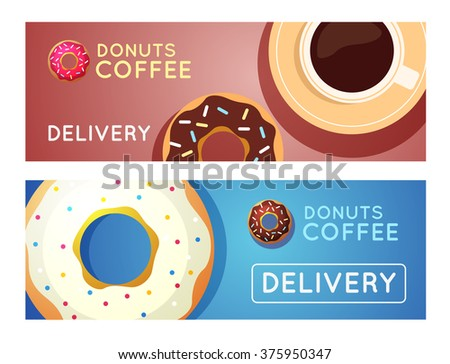 Sweet donut with coffee. Donut on table. Dinner on a donut at the coffee shop. Colored donuts with espresso. Donut coffee vector.