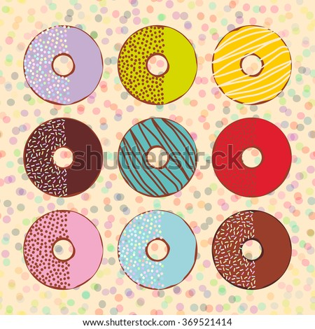 Sweet donuts set with icing and sprinkls isolated, pastel colors on beige polka dot background. Vector - stock vector