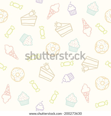 Sweet doodle pattern with cupcakes, cakes, candies and cones. Vector hand drawn seamless pattern - stock vector