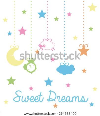 Sweet dreams design, vector illustration eps 10. - stock vector