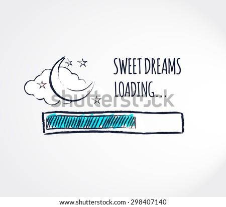 Sweet dreams loading concept progress bar sweet dreams loading concept progress bar design good night funny background vector illustration voltagebd Choice Image