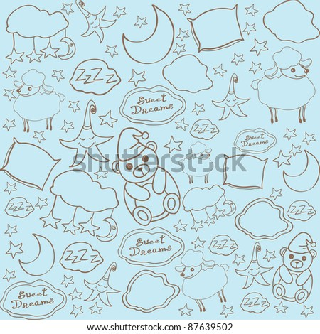 Sweet dreams seamless pattern - stock vector