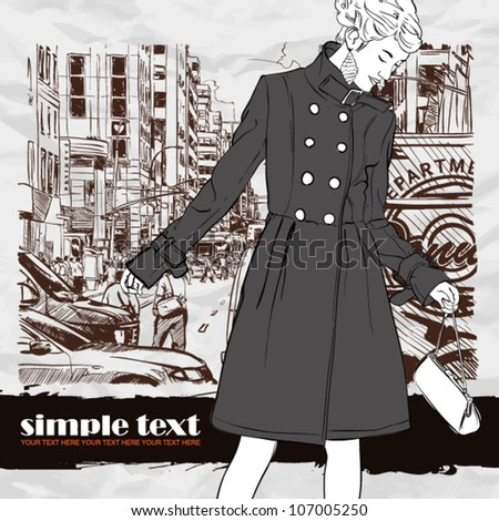 Sweet fashion girl on a street background. Vector illustration - stock vector