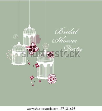 sweet flora bird cage - stock vector