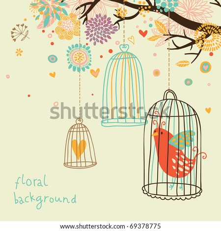 Sweet floral background with bird cage - stock vector