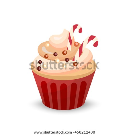 Sweet food chocolate cake. Creamy cupcake isolated on white. Bakery cupcake with cherry. Vector illustration candy concept - stock vector