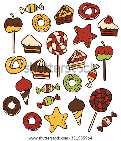Sweet food icons set - candy  sweets lollipop cake donut   ice cream