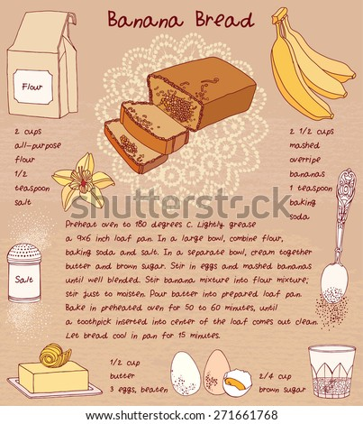 Sweet food. Sliced banana bread. Recipe card.