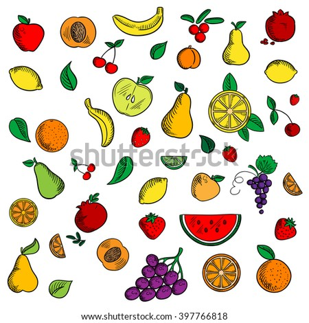 Sweet fruits and berries sketched icons with apple and banana, strawberry and pear, peach and orange, grape and lemon, pomegranate and cherry, cranberry and watermelon among mint leaves