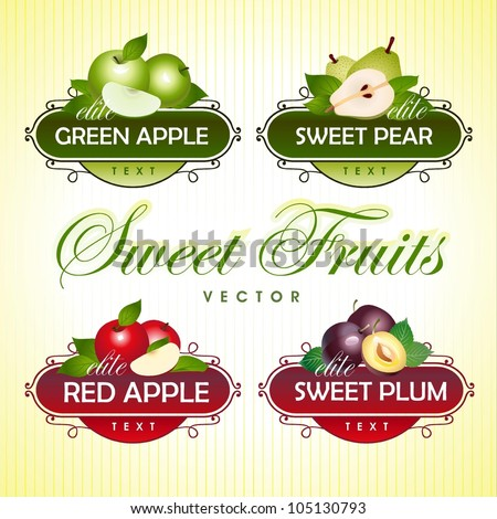 Sweet Fruits. Green apple, pear, red apple, plum