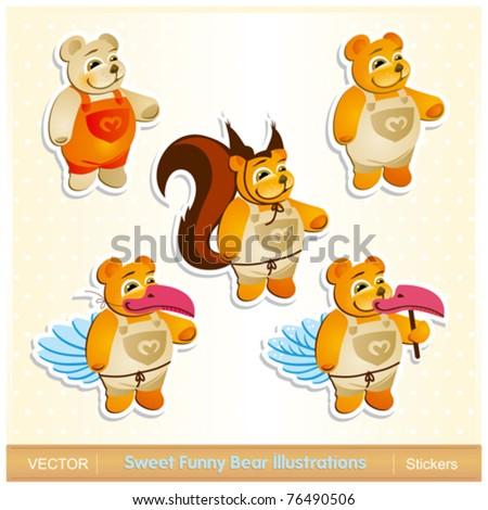 Sweet Funny Bear illustrations - stock vector