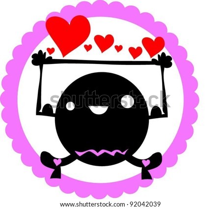 sweet funny love heart  monster say I love you - stock vector