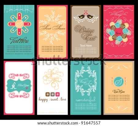 sweet garden card collection - stock vector