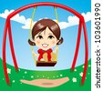 Sweet girl having fun swinging on playground swing - stock
