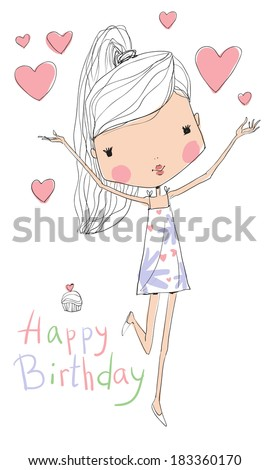 sweet girl with birthday cake  - stock vector
