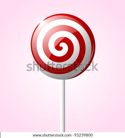 Sweet glossy lollipop isolated on pink background - stock vector