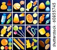 Sweet Goodies Confectionery, set include isolated vector candy cane, candy drop, taffy, bonbon, lollipop, gummy bears, jelly beans etc... - stock photo