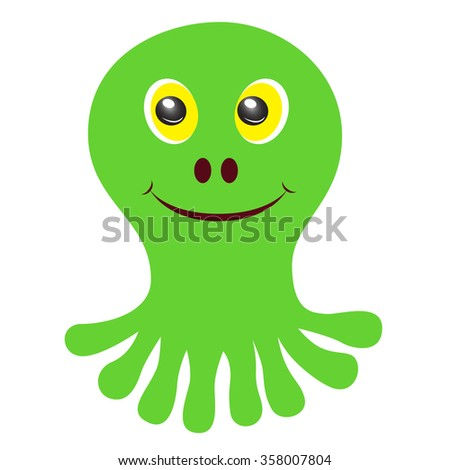 Sweet, green, smiling monsters with yellow eyes. Vector image. Isolated on white background. - stock vector