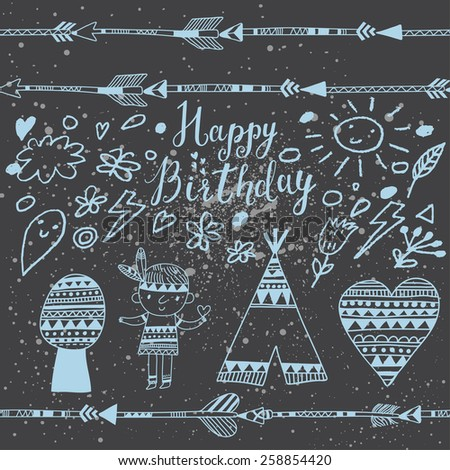 Sweet happy birthday card indian symbols stock vector 258854420 sweet happy birthday card with indian symbols in vector weather concept background with cartoon symbols bookmarktalkfo Choice Image